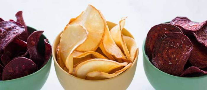 Healthy treats - root vegetable crisps.